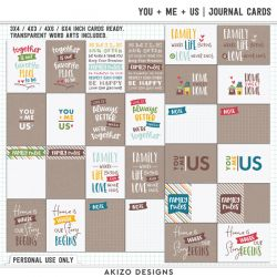 $1 Sale - You + Me = Us | Journal Cards - Title Arts - Playing With Confetti 02 | Templates
