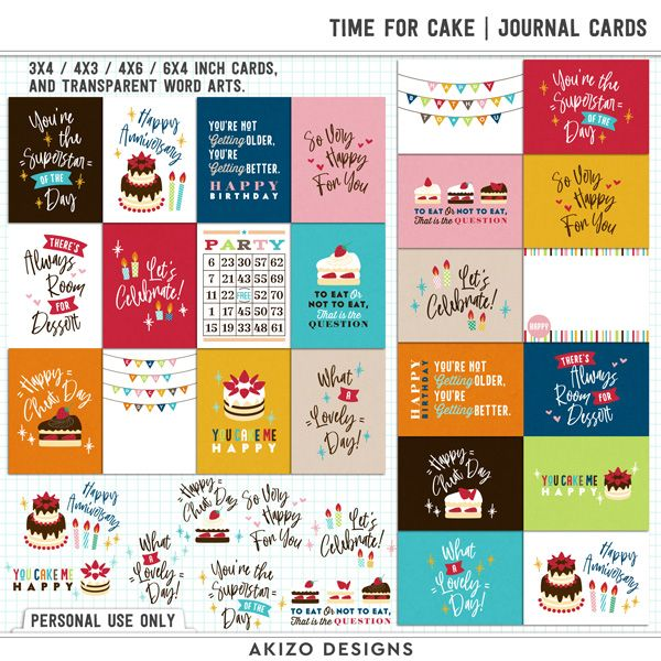 $1 Sale - Time For Cake | Journal Cards - Title Arts