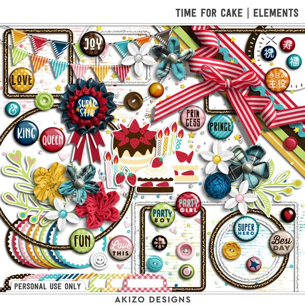$1 Sale - Time For Cake | Elements - Papers