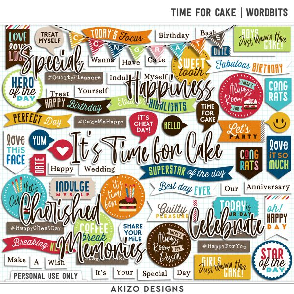 $1 Sale - Time For Cake | Wordbits - Quickpages
