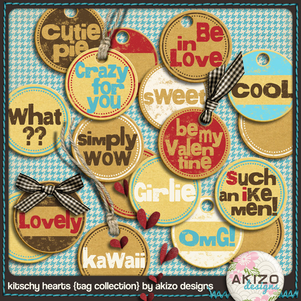 Kitschy Hearts Tag Collection