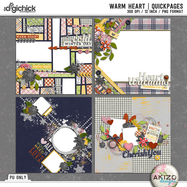 Warm Heart | Quickpages by Akizo Designs | Digital Scrapbooking