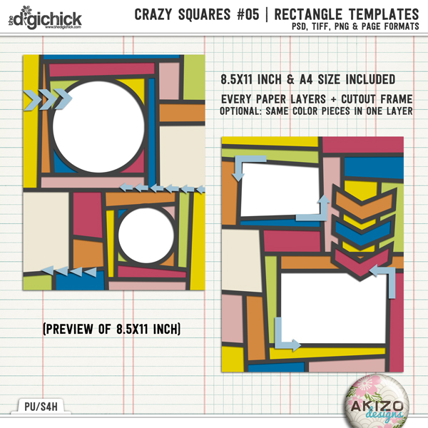 Crazy Squares #05 | Rectangle Templates by Akizo Designs | Digital Scrapbooking