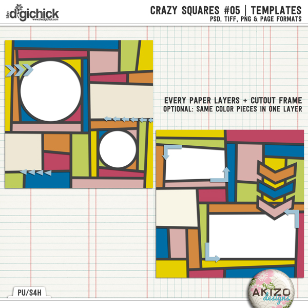 Crazy Squares 05 | Templates by Akizo Designs