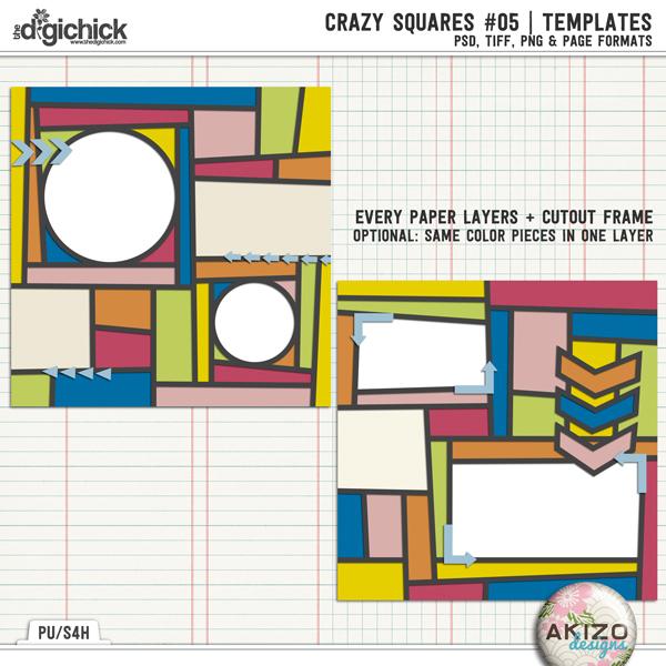 Crazy Squares #05 | Templates by Akizo Designs | Digital Scrapbooking