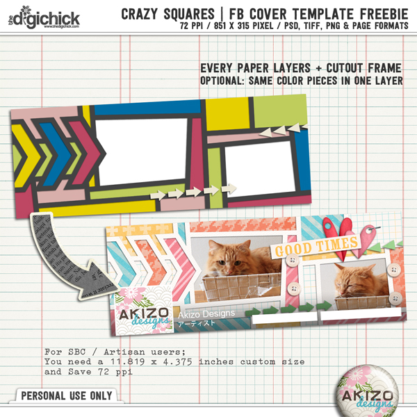 Crazy Squares Facebook Cover Template Freebie by Akizo Designs