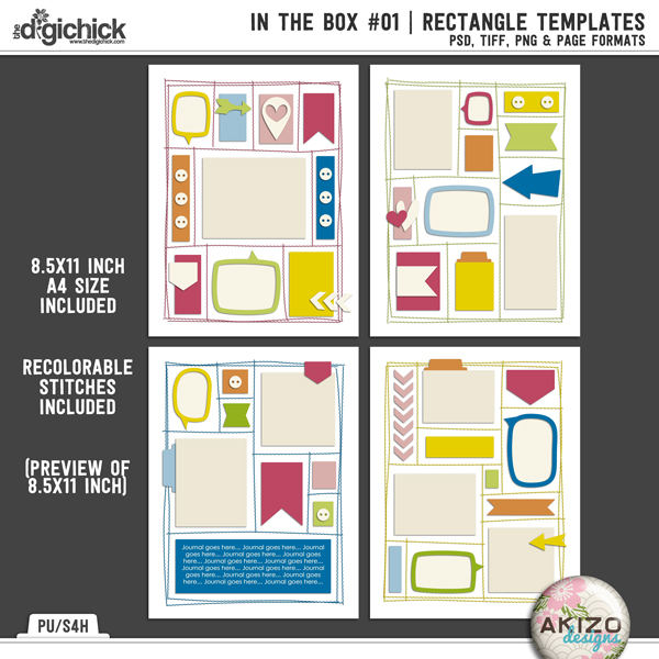 In The Box 01 | Rectangle Templates by Akizo Designs | Digital Scrapbooking