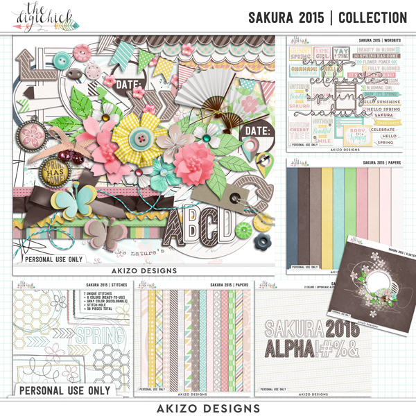 Sakura 2015 | Collection by Akizo Designs | Digital Scrapbooking