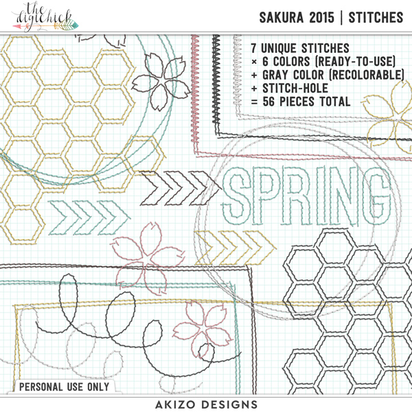 Sakura 2015 | Stitches by Akizo Designs | Digital Scrapbooking
