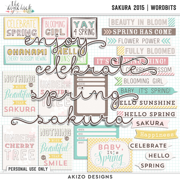 Sakura 2015 | Wordbit by Akizo Designs | Digital Scrapbooking