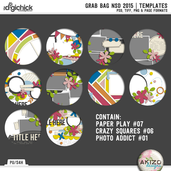 Grab Bag NSD 2015 by Akizo Designs | Digital Scrapbooking Template