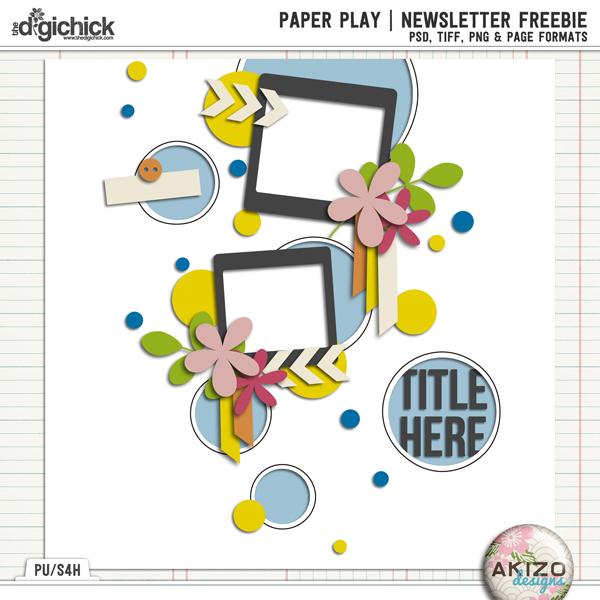 PaperPlay NewsLetter Freebie by Akizo Designs | Digital Scrapbooking Template