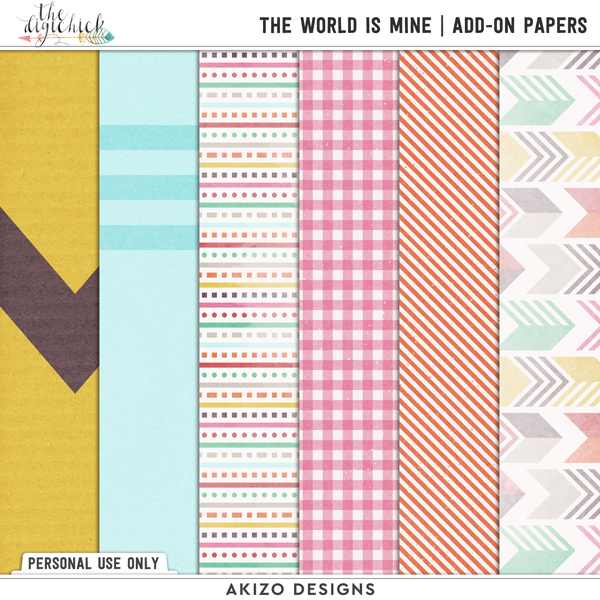 The World Is Mine by Akizo Designs | Digital Scrapbooking papers