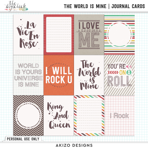 The World Is Mine by Akizo Designs | Digital Scrapbooking journaling cards