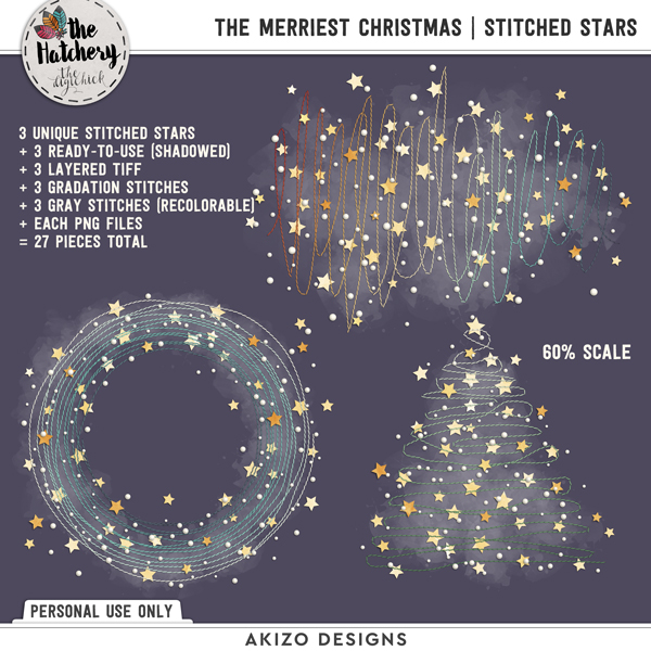The Merriest Christmas | Stitched Stars by Akizo Designs | Digital Scrapbooking