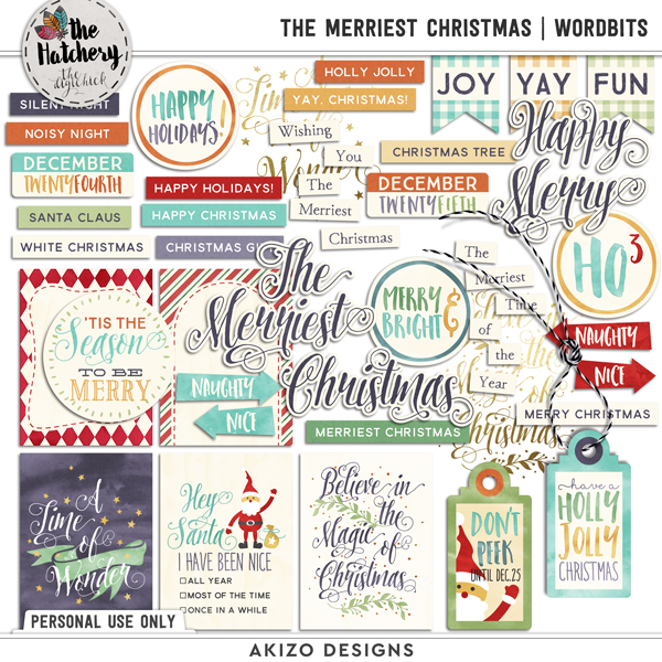 The Merriest Christmas | Wordbits by Akizo Designs | Digital Scrapbooking