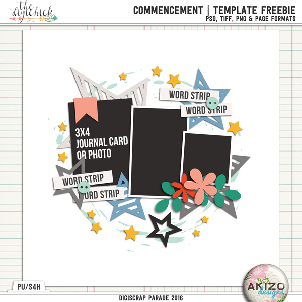 Commencement | Template Freeble by Akizo Designs