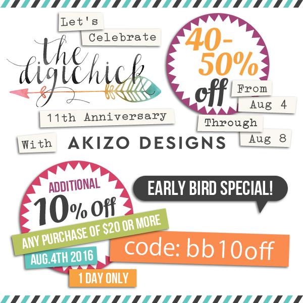11th Anniversary Sale | Akizo Designs | Digital Scrapbooking