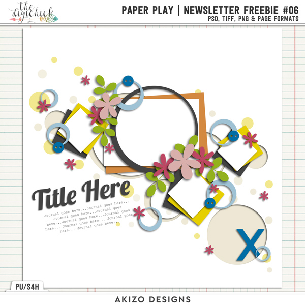 PaperPlay NewsLetter Freebie #06 by Akizo Designs