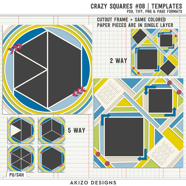 Crazy Squares 08 | Templates by Akizo Designs