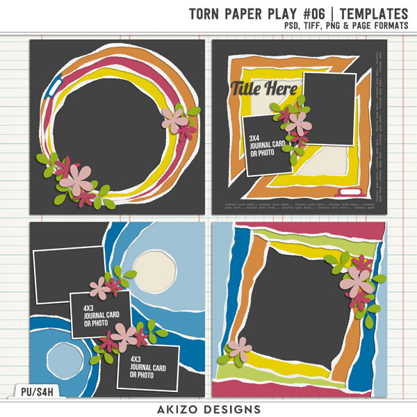 Torn Paper Play 06 | Templates by Akizo Designs