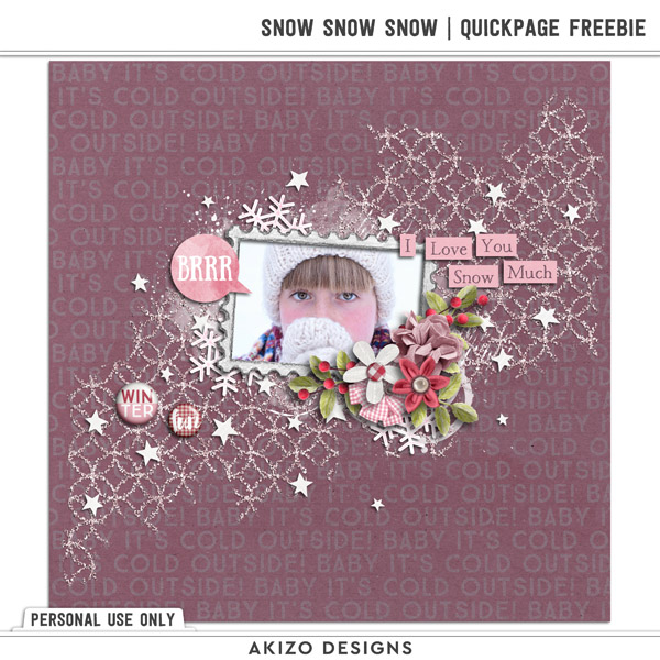Snow Snow Snow Quickpage Freebie