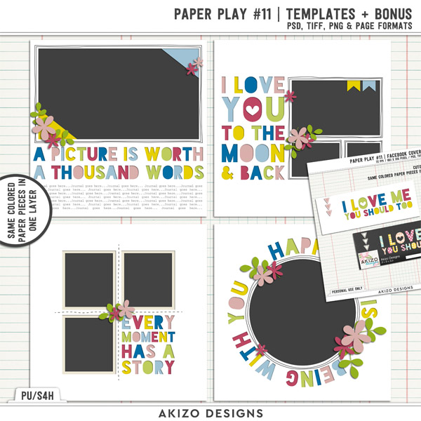 Paper Play 11 | Templates + Bonus by Akizo Designs