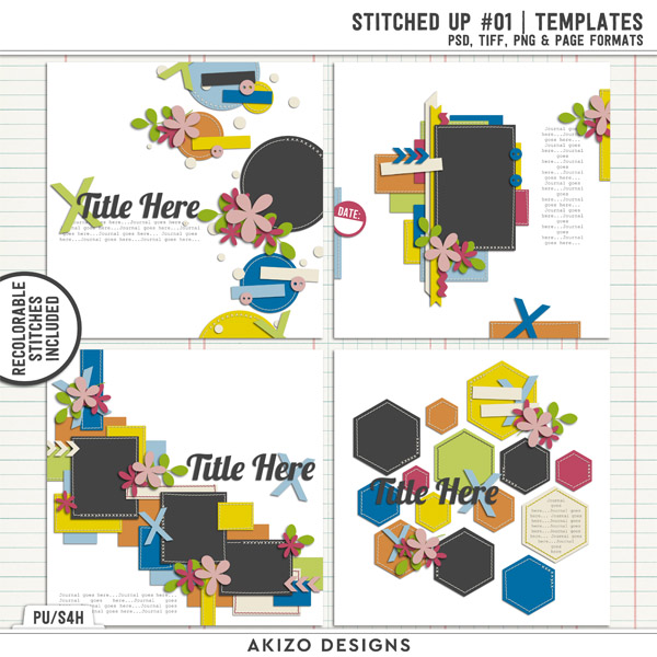 Stitched Up 01 | Templates by Akizo Designs