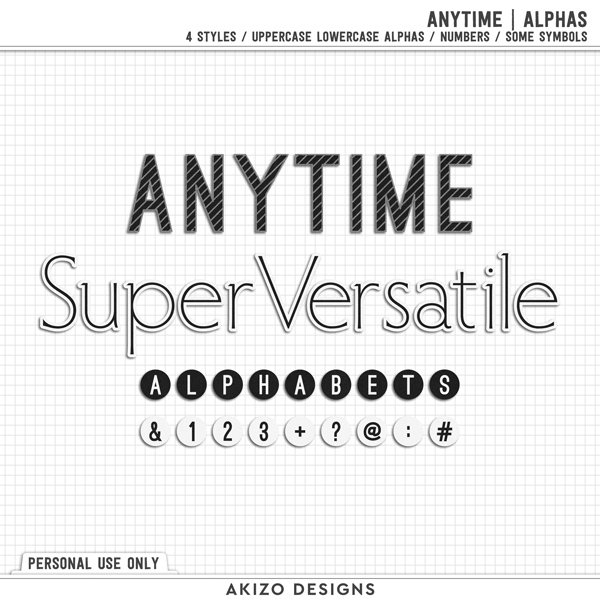 Anytime | Alphas by Akizo Designs | Digital Scrapbooking