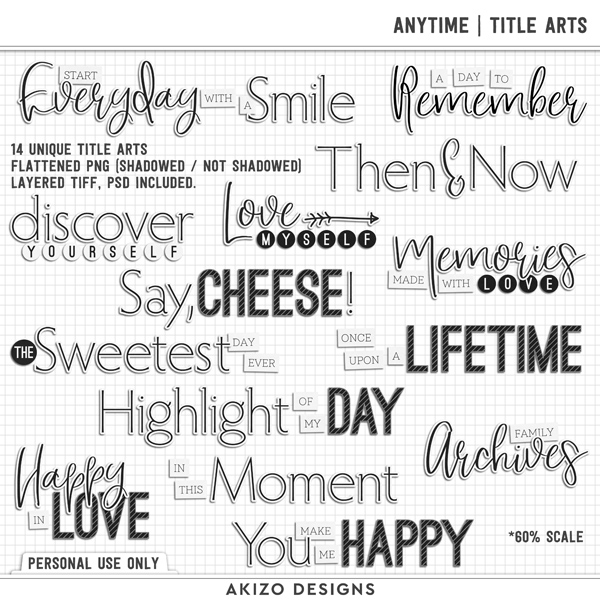 Anytime | Title Arts by Akizo Designs | Digital Scrapbooking