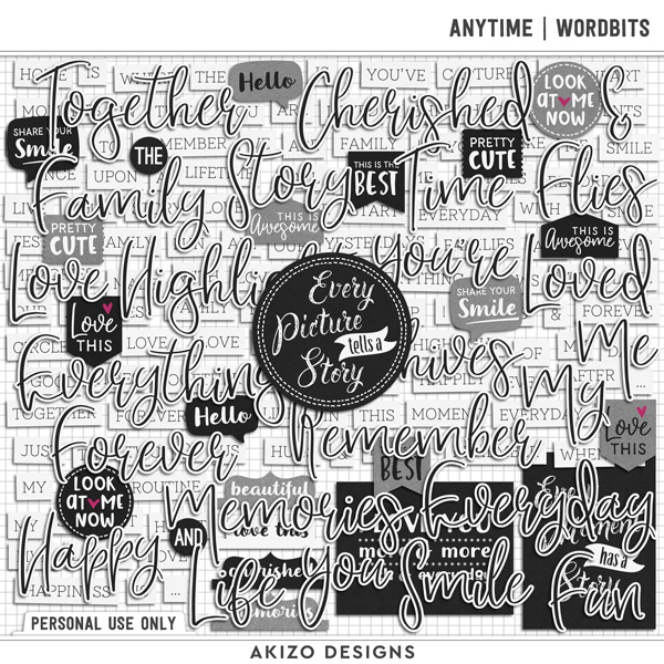 Anytime | Wordbits by Akizo Designs | Digital Scrapbooking