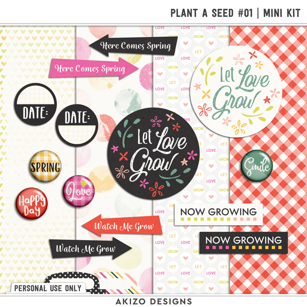 Plant A Seed 01 | Mini Kit by Akizo Designs | Digital Scrapbooking