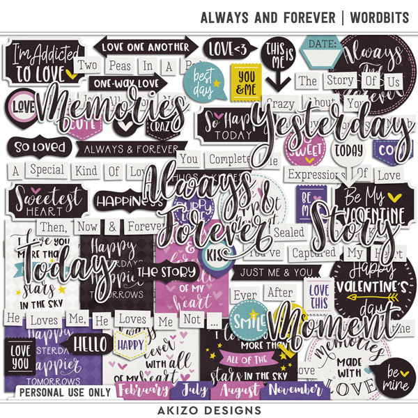 Always And Forever   Wordbits by Akizo Designs   Digital Scrapbooking