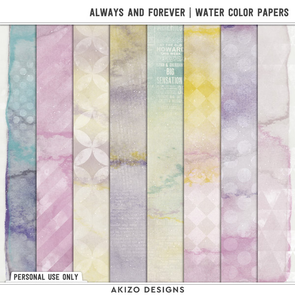 Always And Forever   Water Color Papers by Akizo Designs   Digital Scrapbooking