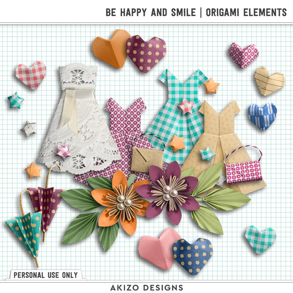Be Happy And Smile | Origami Elements by Akizo Designs | Digital Scrapbooking