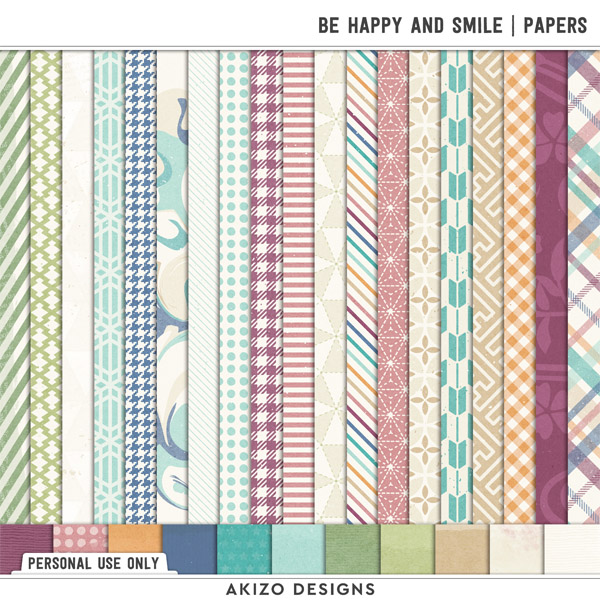 Be Happy And Smile | Papers by Akizo Designs | Digital Scrapbooking