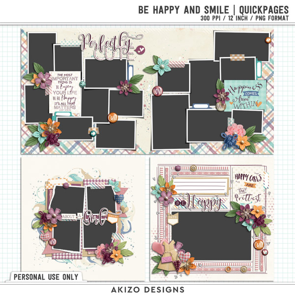 Be Happy And Smile | Quickpages by Akizo Designs