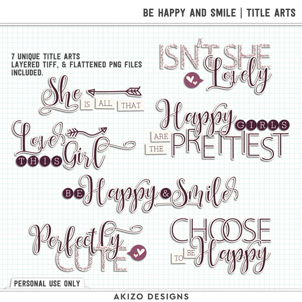 Be Happy And Smile | Title Arts by Akizo Designs | Digital Scrapbooking
