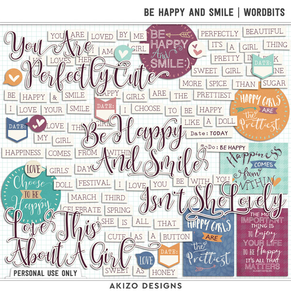 Be Happy And Smile | Wordbits by Akizo Designs | Digital Scrapbooking