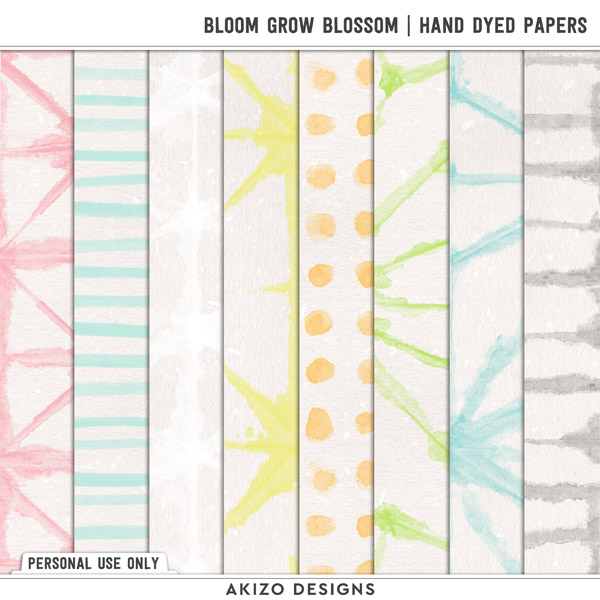 Bloom Grow Blossom   Hand Dyed Papers by Akizo Designs   Digital Scrapbooking