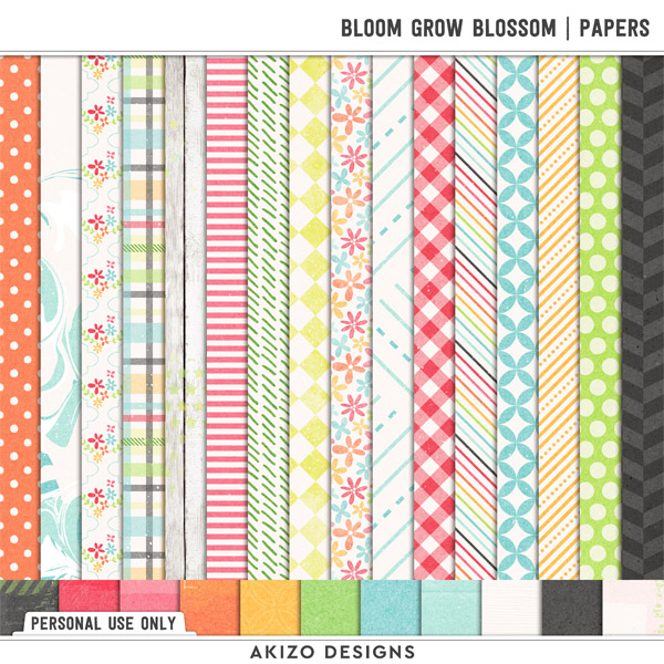 Bloom Grow Blossom   Papers by Akizo Designs   Digital Scrapbooking