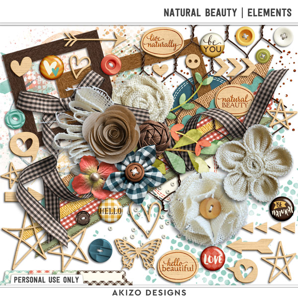 Natural Beauty | Elements by Akizo Designs | Digital Scrapbooking