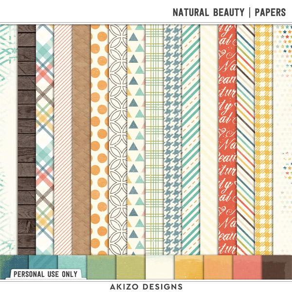 Natural Beauty | Papers by Akizo Designs | Digital Scrapbooking