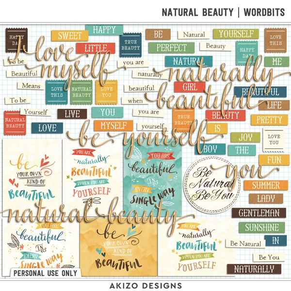 Natural Beauty | Wordbits by Akizo Designs | Digital Scrapbooking