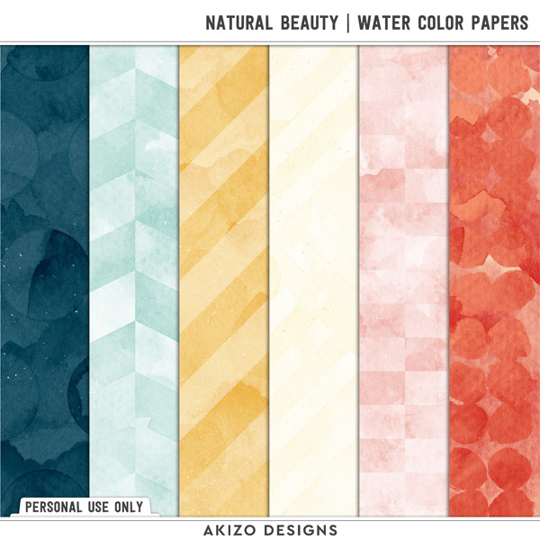 Natural Beauty | Water Color Papers by Akizo Designs | Digital Scrapbooking