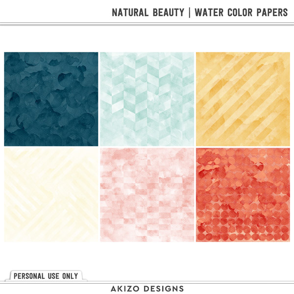 Natural Beauty   Water Color Papers by Akizo Designs   Digital Scrapbooking