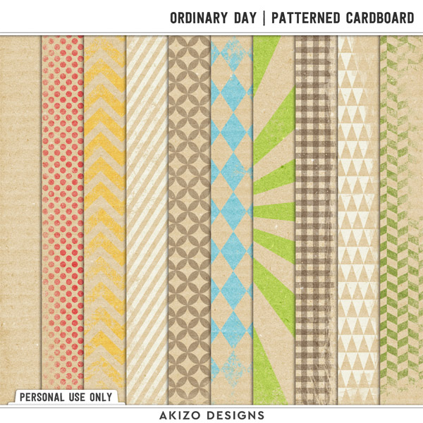 Ordinary Day Patterned Cardboard by Akizo Designs (digital scrapbooking)
