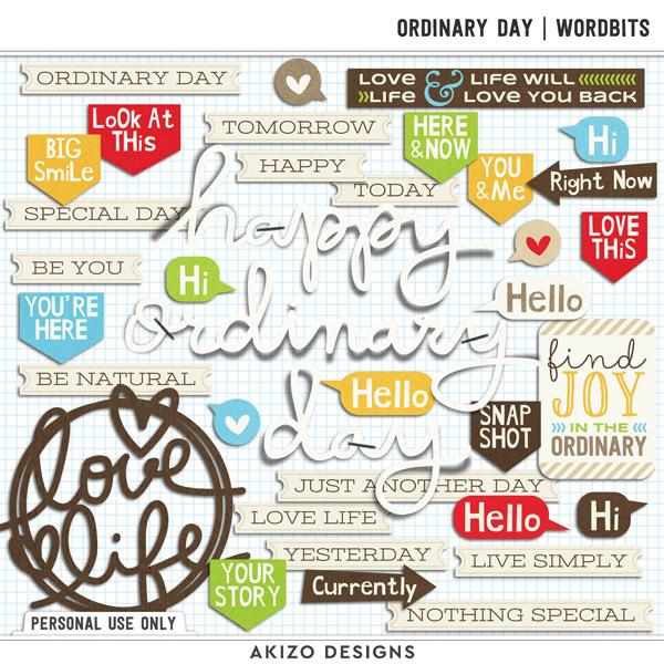 Ordinary Day Wordbits by Akizo Designs (digital scrapbooking)
