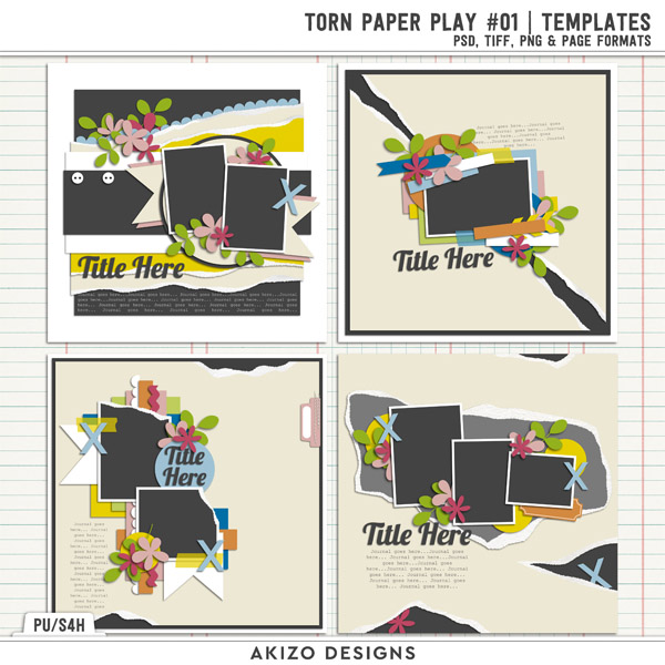 Torn Paper Play 01 | Templates by Akizo Designs