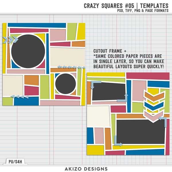 Crazy Squares 09 | Templates by Akizo Designs
